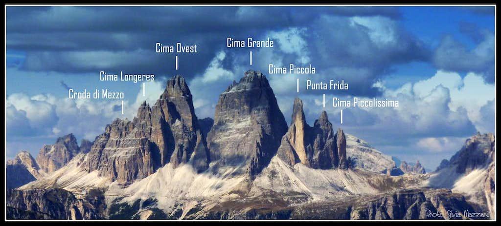 Tre Cime di Lavaredo Group from Torre Pian dei Buoi, Marmarole, Eastern Dolomites