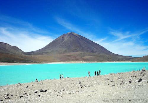 Licancabur volcano and Laguna Verde