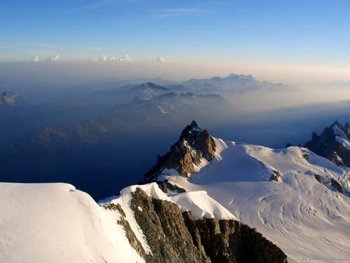 Darkness disappearing over Aiguille du Midi