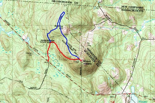 Map of the route up Mount Watatic