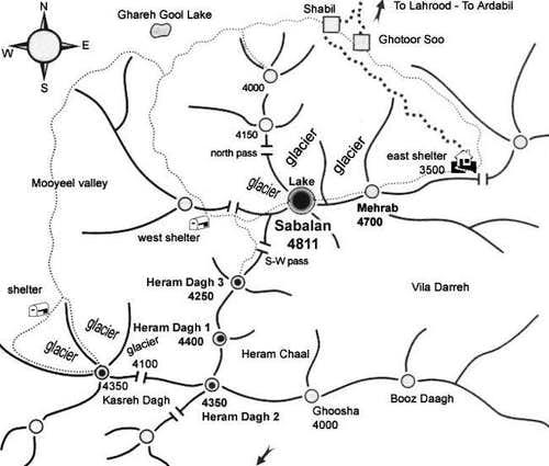 Sabalan mountain map .(...