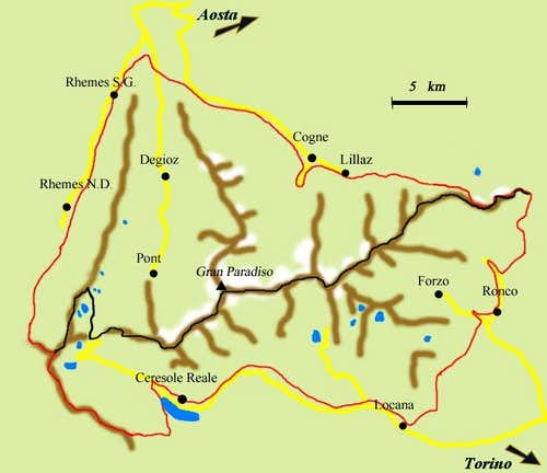 Handmade map of the Gran Paradiso National Park