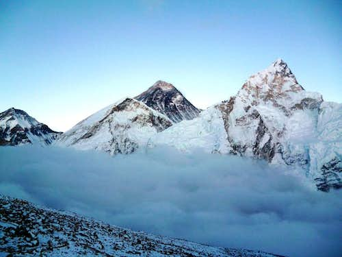 Mount Everest from Kala Pattar at sunset