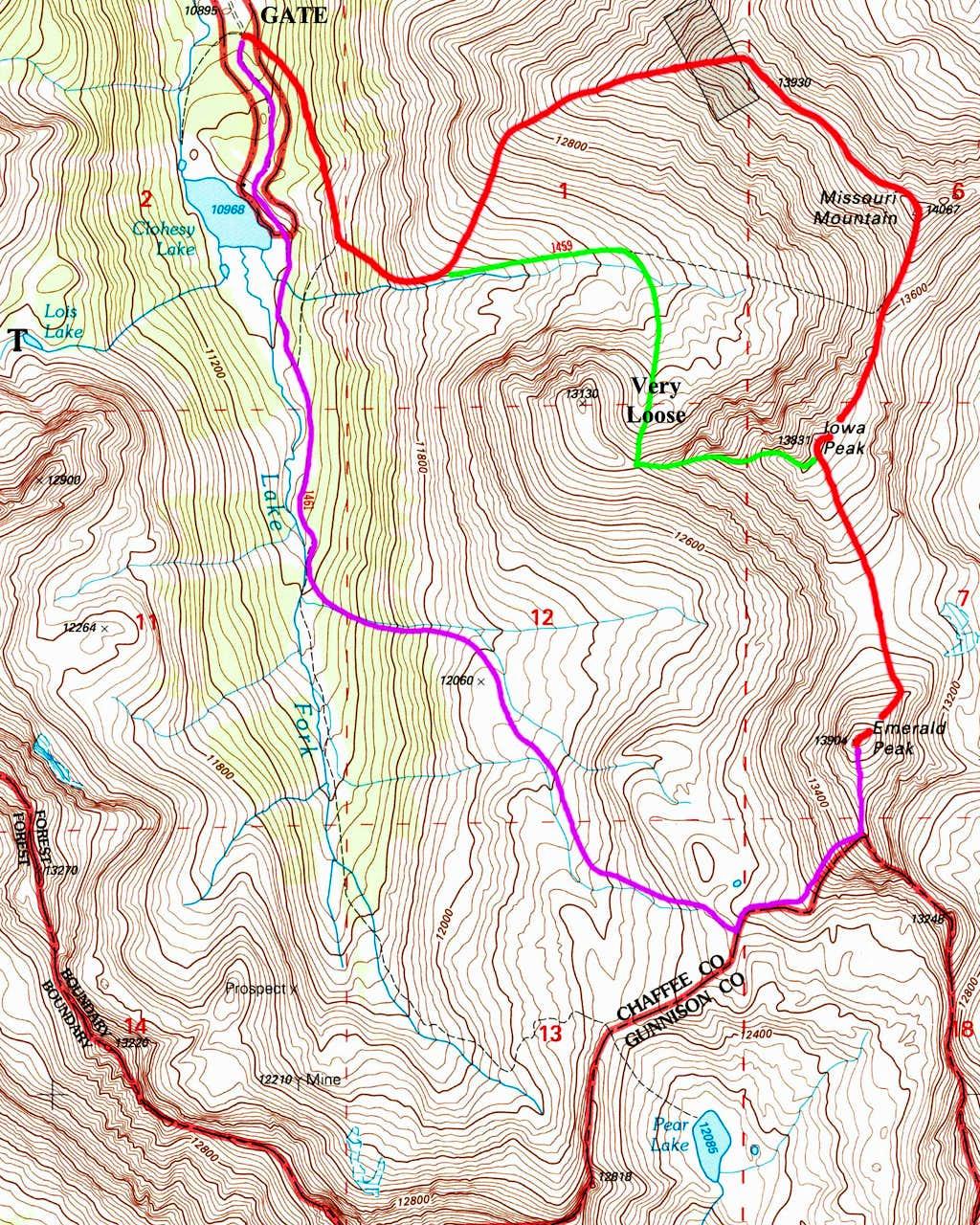 Emerald and Iowa Peaks Map