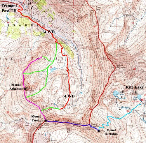 Mount Tweto North Routes