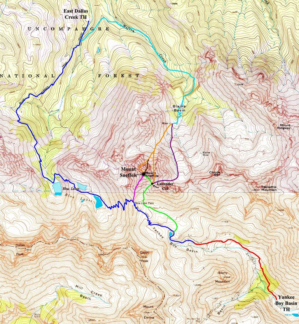 Mount Sneffels Route Map