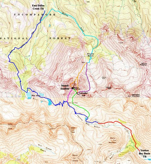 Mount Sneffels Route Map