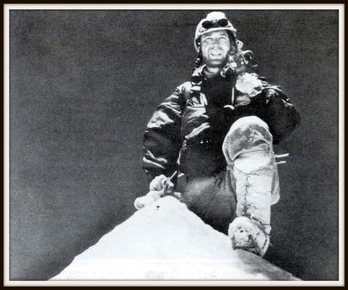 Jean Couzy on the sharp summit of Makalu in 1955