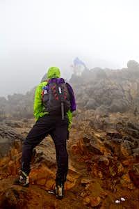Short rock step below summit