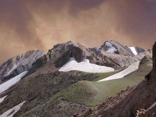 Dunrud Peak, Point 12,284, Dollar Mountain, and Wildfire Smoke