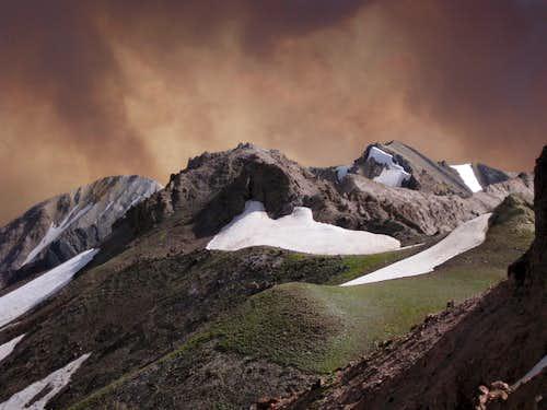 Dunrud Peak, Point 12,284, Dollar Mountain, and Wildfire Smoke