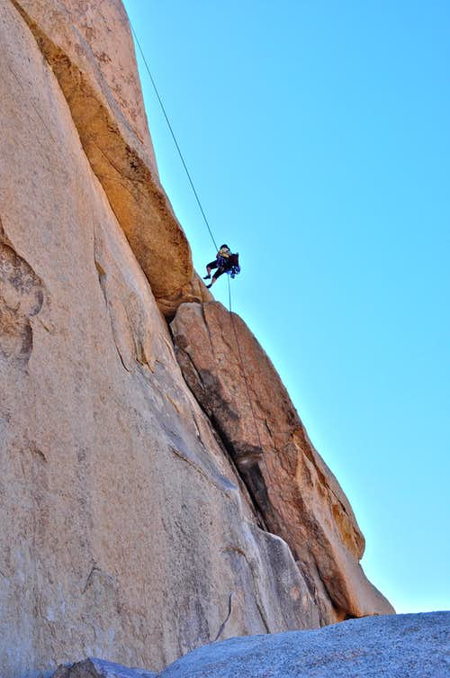 Rappelling the north face
