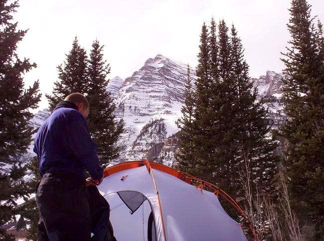 Camping near the Maroon Peaks.