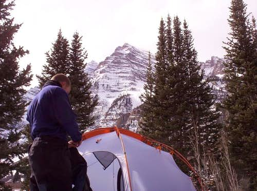 Camping near the Maroon Peaks.