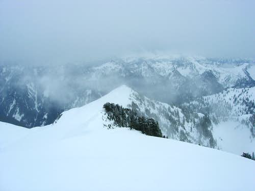 Looking over at the false summit
