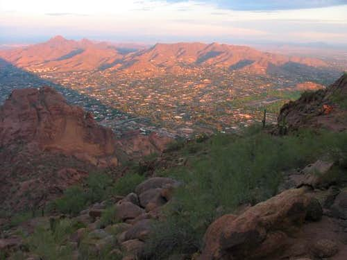 Piestewa Peak (left) and the...