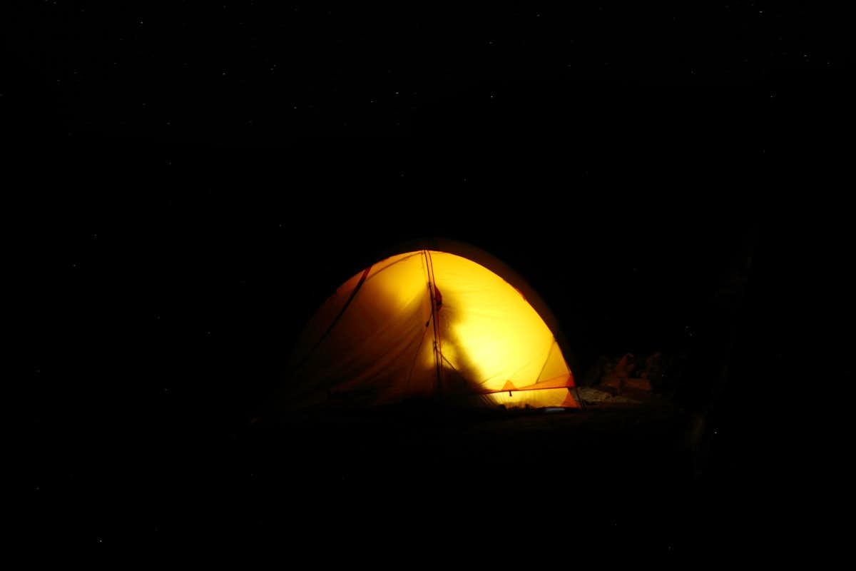 Solitary camping after climbing