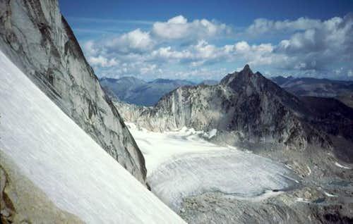 Climbing beside the...