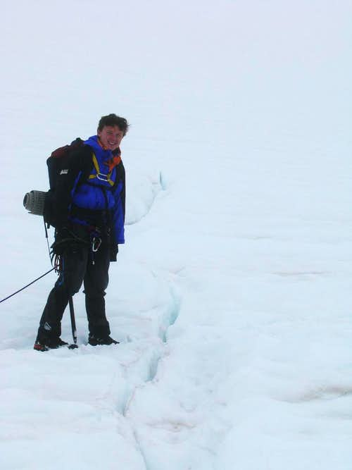 Hiking though a Crevasse Field on Mount Baker
