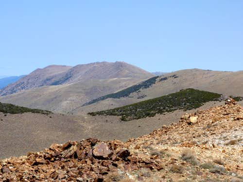 Mount Siegel and Galena Peaks seen from the lower summit on the Bald Mountain plateau