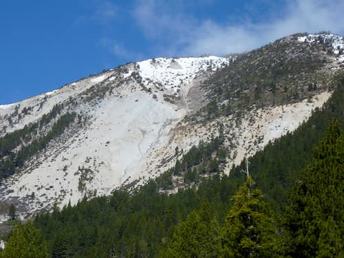 Zoom shot of Slide Mountain southeast face from Ophir Creek Trail