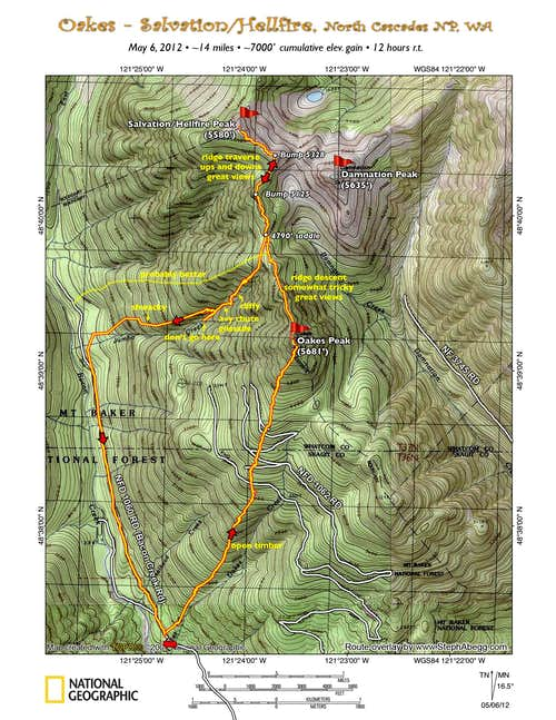Oakes + Salvation/Hellfire Topo Map Route Overlay
