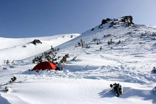 A camp on the lower part of Casaval Ridge (9,000+), Mt Shasta.