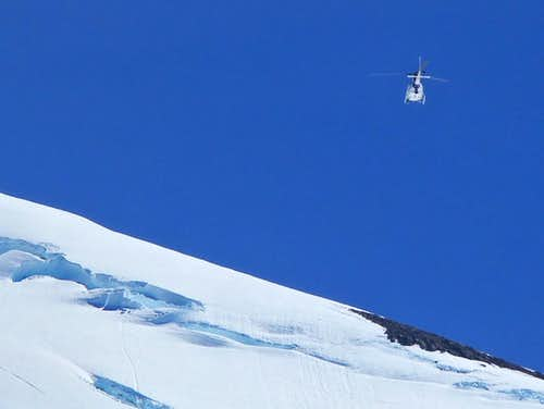 Helicopter Flying over Baker