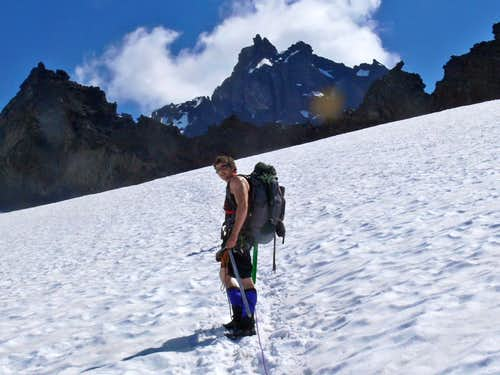 Collin approaching Base Camp