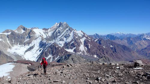 Going up to camp 2 with Loma Larga and Cerro del Plomo in the background