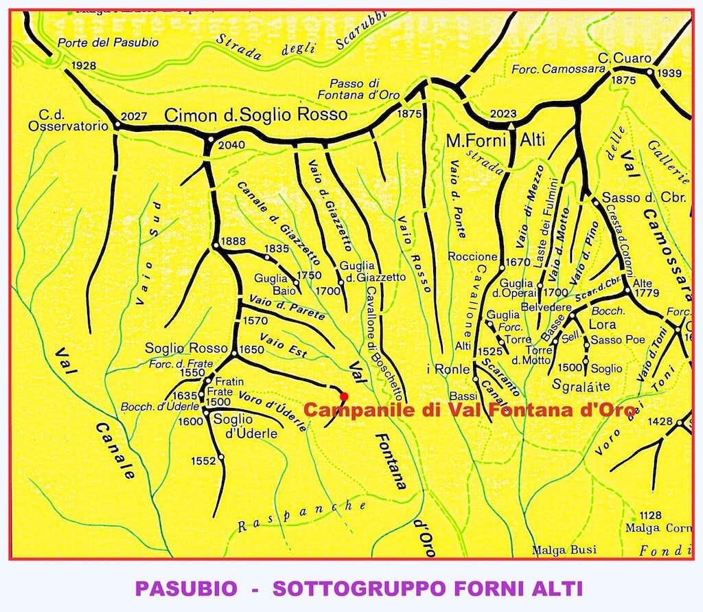 Campanile di Val Fontana d\'Oro map : Photos, Diagrams & Topos ...