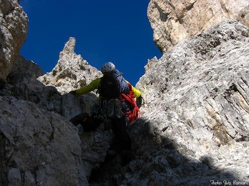 First fine white wall, Cima Ovest di Lavaredo
