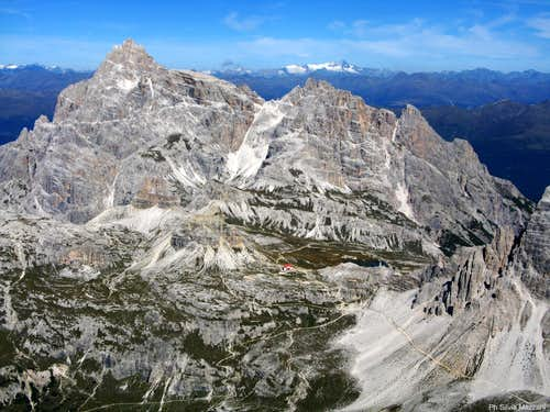 Tre Scarperi Group and Locatelli Hut in the middle