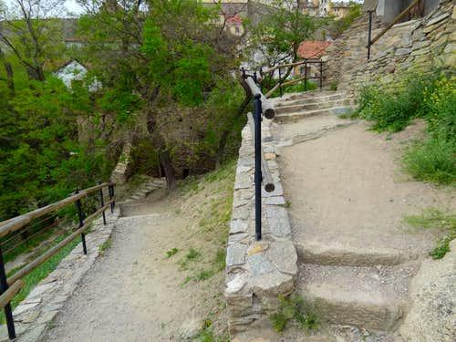 Znojmo narrow passageways on the hill