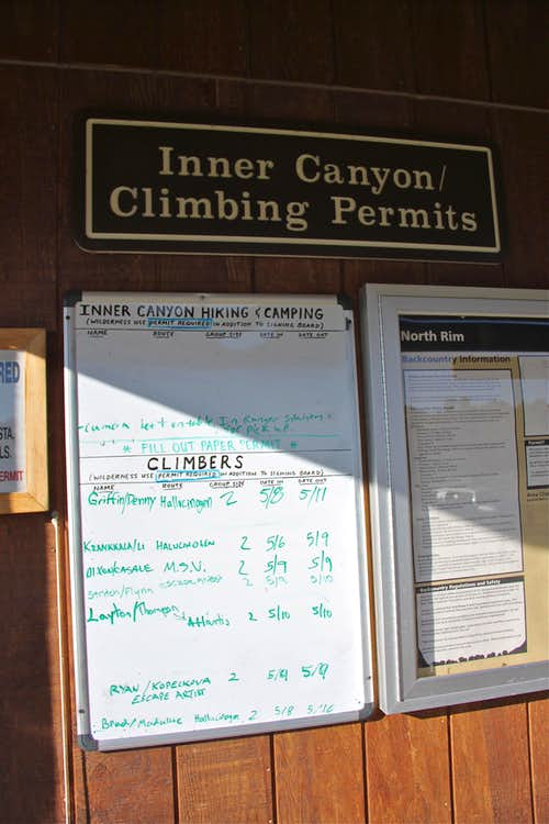 Board at the North Rim Ranger Station