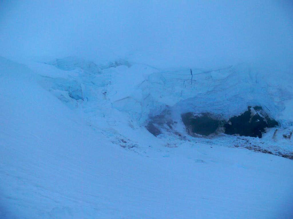 Glacier Crevasses though the Fog