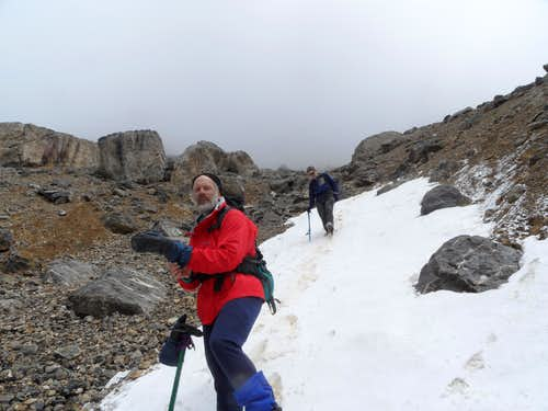 Descending the SW gully