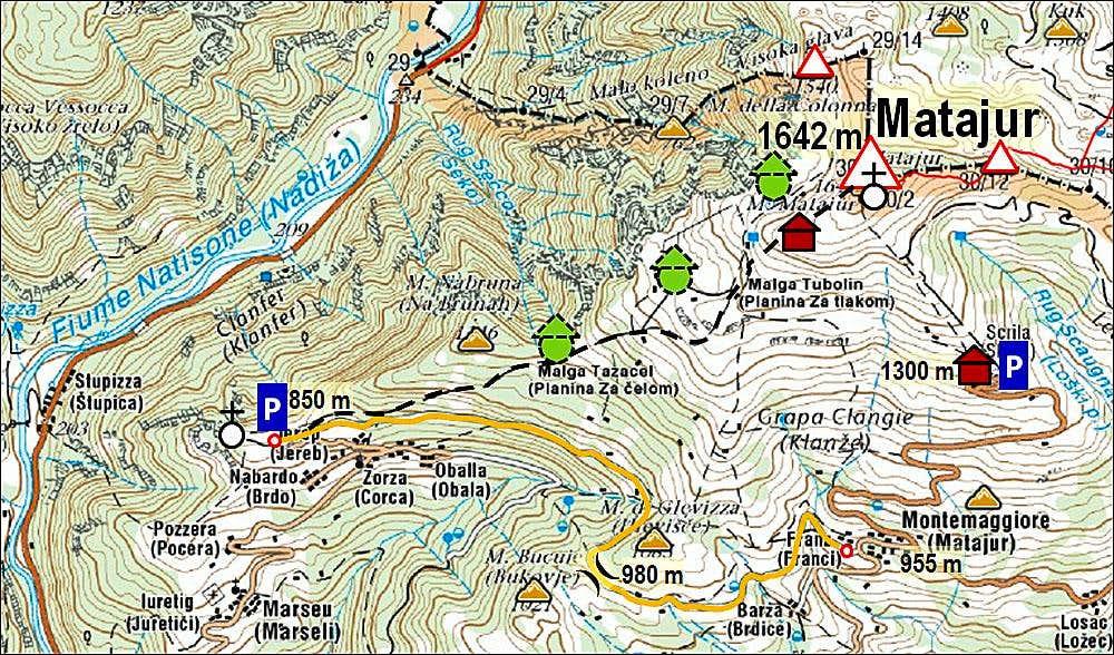 matajur sw ridge map photos diagrams topos summitpost. Black Bedroom Furniture Sets. Home Design Ideas