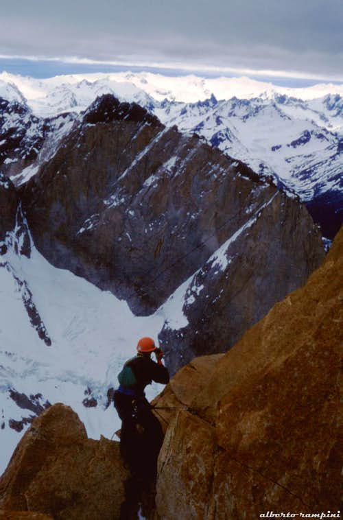 An exciting moment on Torre Central del Paine (1992)