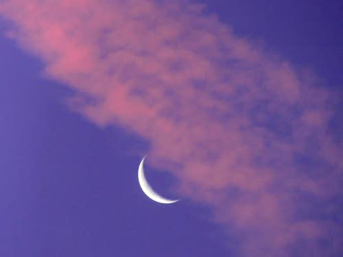 Pink Clouds with the Moon
