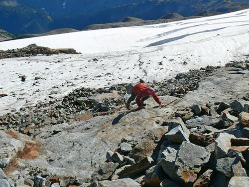 Michael Scrambling up Sahale