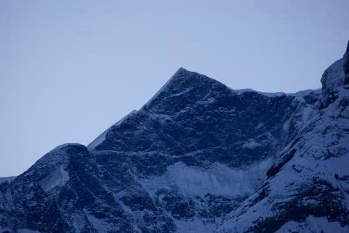 North face Kleines Fiescherhorn at sunrise