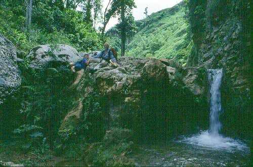 Surmounting one of many small waterfalls