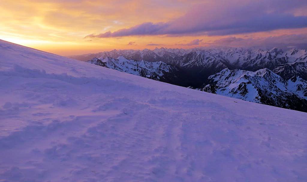 Sunrise on Mt Elbrus