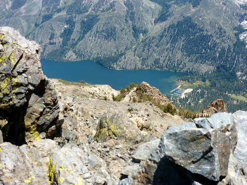 View down to the Twin Lakes from the summit of Robinson Peak