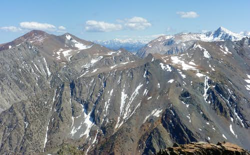 View south from Black Mountain towards Mount Warren (left) and Mount Dana 13,053' (right).