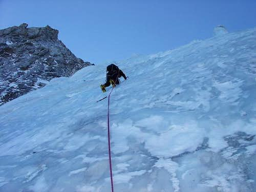 First Pitch on Seracs Route...