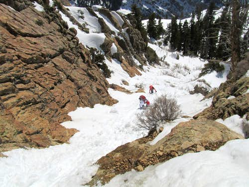 Looking down chute