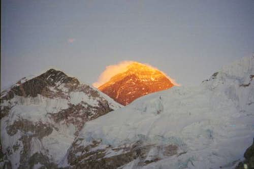 Everest on fire from Pumori,...