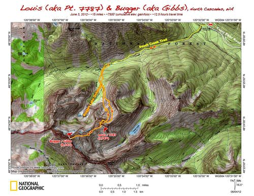 Map of route up Louis and Bugger, North Cascades, WA